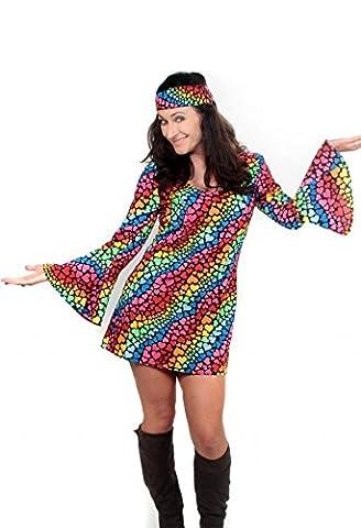 Damen Kostüm Lea bunt Gr. M - L Kleid mit Stirnband Hippie 70er 80er 90er Jahre (Large)