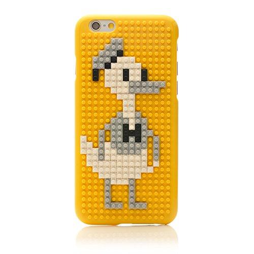 iProtect Apple iPhone 6, 6s DIY Hardcase Schutzhülle mit Bausteinen zum Zusammenstecken - Motiv Pilz Ente Gelb
