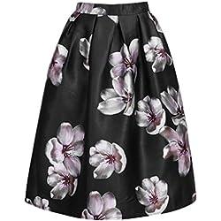 Fastar faldas de fiesta para mujer señora - faldas plisada de hilo de moda faldas vintage de impresión floral