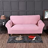 FORCHEER Sofa Überwürfe Sofabezug Stretch elastische Sesselbezug Pure color Couch Cover Sesselhusse ( 2-Sitzer 145-185cm, Hell-Pink )