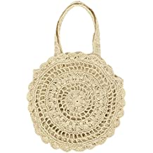 Ratán cesta para la Mujer bolsillos bolsa de playa mano Verano Bandolera Straw Knitted Bag