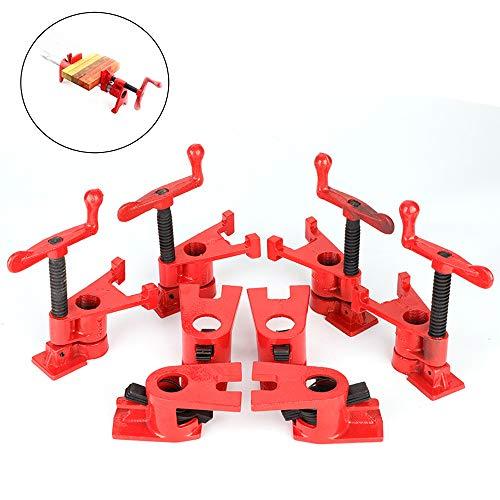 """Abrazaderas para trabajar la madera, Juego Abrazadera de Tubo Abrazadera Sujeción de Tubode Carpintería para tubo roscado de 3/4\"""", Color: Rojo, Cantidad: 4 set"""