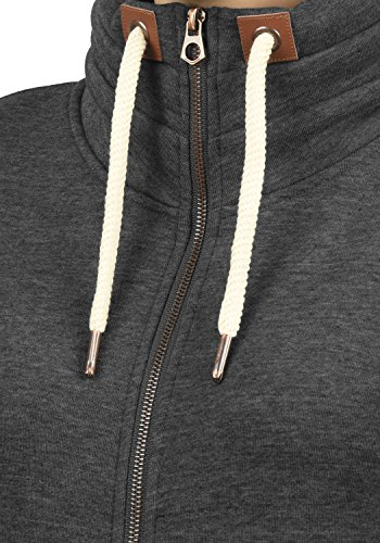 DESIRES Vicky Zipper Damen Sweatjacke Jacke Sweatshirtjacke Mit Stehkragen, Größe:L, Farbe:Dark Grey Melange (8288) - 4
