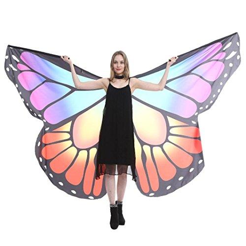 style_dress Ägypten Damen Butterfly Belly Wings Für Bauchtanz Tanz Schleier Flügel Zubehör Tanzen Kostüm Bauchtanz No Sticks Fasching Karneval (Lila#1)