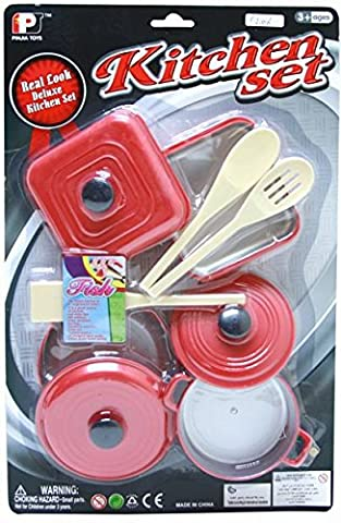 Large Kitchen Cooking Pots And Pans Saucepans Playset For Children by Carousel