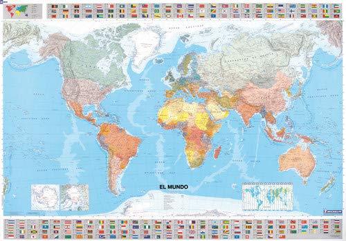 Mapa plastificado El Mundo Mapas tubo plastificados