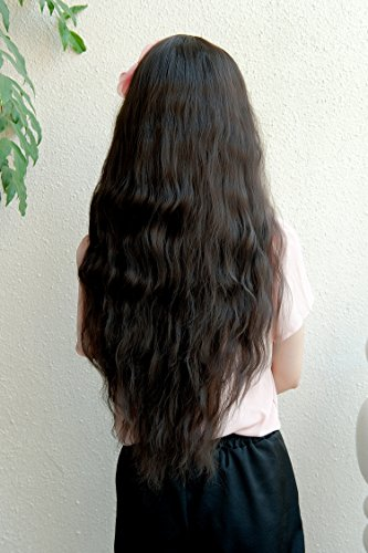 YunNasi Perruques Postiches Cheveux Frisés Costume Coaplay Déguisement 65cm Noir