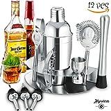 Professionelles Cocktail Set, Edelstahl Cocktailshaker Set 12-Teiliges, 550ML Cocktail shaker, Schüttelbecher, Barmaß, Gedrehter Barlöffel, Stößel, Mixer, Flaschenausgießer, Eissieb und Eiszange