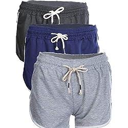 Mujeres Verano Pantalones Cortos Deportivos Tallas Grandes Yoga Deportes Pantalones Cortos Ejercicio de Yoga 3 Colores 3 Piezas (L)