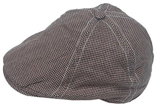Cool4 Kleinkind 6-Panel Hahnentritt Flatcap Braun-Schwarz Schiebermütze Gatsby Newsboy Cap KC17 (Hahnentritt-newsboy Hut)