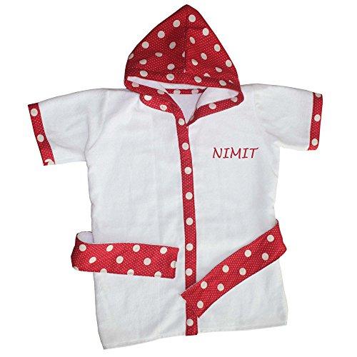 Kadambaby - Premium terry Cotton Kids Hooded Bath Robe Beach Towel for bath swim - Red Polkas