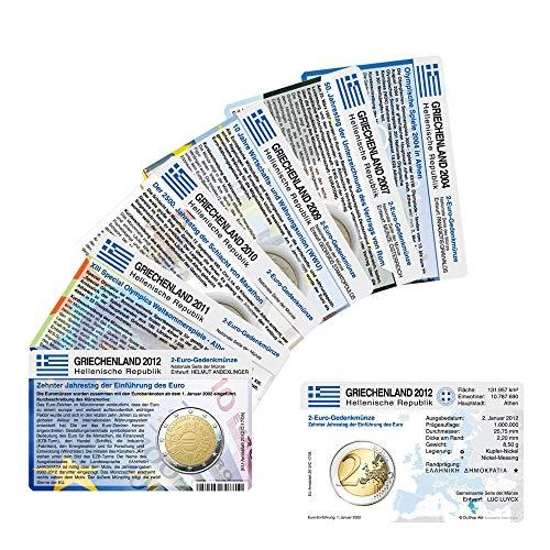 Set - alle Münzkarten (ohne Münze) Griechenland für 2-Euro Gedenkmünzen 6 Stück