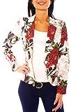 Damen Sommer Blazer Jacke Satinblazer Sakko Kurz Gefüttert Langarm Floral Geblümt Blumen-Muster Creme-Bunt M - 38