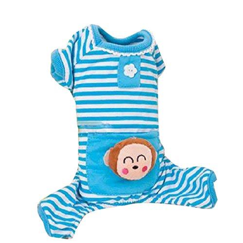 QHGstore Markiert Small Pet Dog Baumwolle Taschen Pyjamas Mantel-Katze-Welpen-Kleidung Blau Xs (Stripe Baumwolle Pyjama)