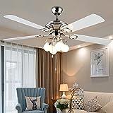 SDKKY europäischen stil fan anhänger lampe, restaurant einfache deckenventilator lampe, modernes design, ein großes wohnzimmer deckenventilator lampe, die fernbedienung lampe - fan,weiße