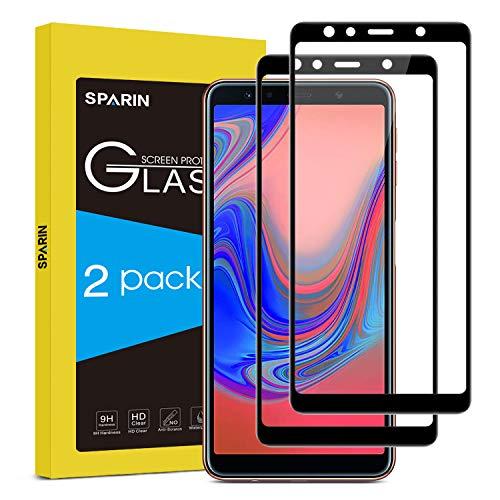 SPARIN [2 Stück Schutzfolie für Samsung Galaxy A7 2018 mit [9H Härte] [Anti-Kratzen] [Blasenfrei] [2.5D Rand] [HD Klar]
