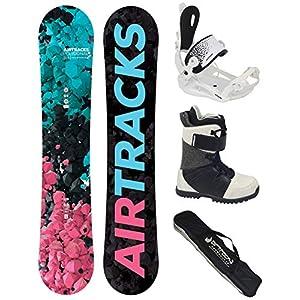 Airtracks Damen Snowboard Komplett Set – POLYGONAL Lady Snowboard Hybrid Rocker + Bindung Master W FASTEC ™ + Boots + Snowboard Bag / 138 144 148 154 cm