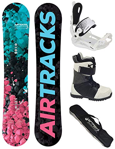 Airtracks Damen Snowboard Set - Board Polygonal 138 - Softbindung Master W - Softboots Star Black 38 - SB Bag