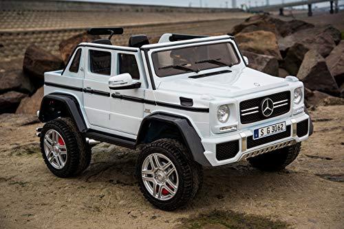 Mondial Toys Auto ELETTRICA per Bambini 2 POSTI Pick-UP 2X BATTERIE 12V 4X Motore Mercedes-Maybach G650 Landaulet 4X4 AWD SEDILI in Pelle Telecomando Bianco
