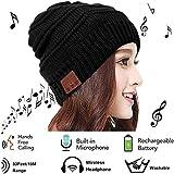 Mystery Bluetooth Bonnet Beanie, Connexion Bluetooth sans Fil Casque avec Micro Haut-parleurs Stéréo Lavable Bonnet Sans Fil pour Sports de Plein Air d'hiver Compatible avec iPhone et Andriod (Noir 1)
