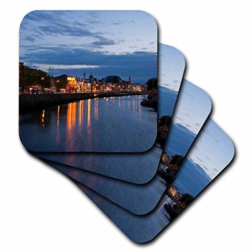 3dRose CST _ 82000_ 3, Irlanda de Dublín. Tarde A Orillas Del Río Liffey eu15mwr0036Micah Wright baldosa cerámica Posavasos, juego de 4