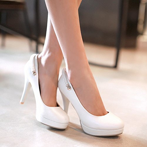 Mee Shoes Damen Ankle Strap Trichterabsatz Plateau Pumps Weiß