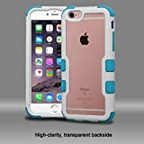 Asmyna Cell Phone Case for Apple iPhone 6/6s Plus - Natural Ivory White/Transparent PC/Tropical Teal