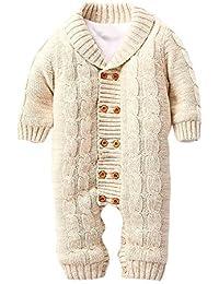 Amurleopard Grenouillière Epaisse tricotée bébé imprimé Manches longues unisex hiver