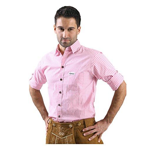 ALMBOCK Trachtenhemd Herren kariert | Slim-fit Männer Hemd pink rosa kariert | Karo Hemd aus 100% Baumwolle in den Größen S-XXXL