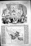 Carte 1860 de Bridgetown Barradoes de Plan de Brigade de Fusil d'Edimbourg de Théâtre de Variétés de Bazar