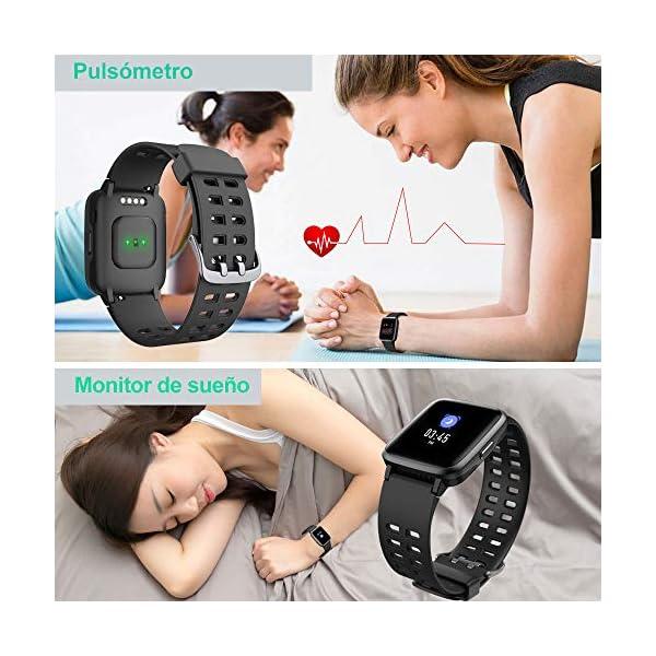 YAMAY Smartwatch, Impermeable Reloj Inteligente con Cronómetro, Pulsera Actividad Inteligente para Deporte, Reloj de… 6