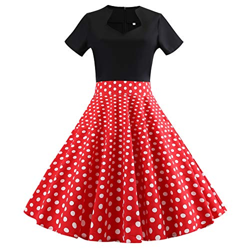 Shangrui Rock-n Roll Rock Kostüm, rot schwarz Gepunkteter Rock passendem Schal, Stil Mode Kostüm Rockabilly Damen Übergröße Outfit Polka Dots
