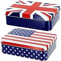 Promobo Set 2Stück Aufbewahrungsbox Décor Flagge Großbritannien und USA preisvergleich bei billige-tabletten.eu
