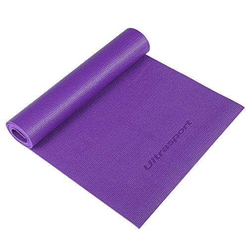 Ultrasport Materassino da yoga privo di sostanze nocive e con cinghia di trasporto / tappetino per allenamento, arrotolabile e fissabile con la cinghia in dotazione che ne facilita il trasporto, lilla