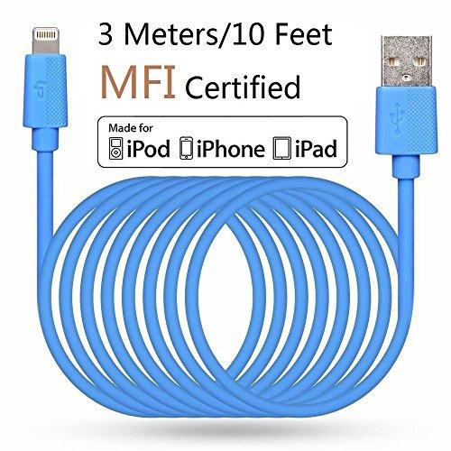 LP 3 Meter Lange Lightning Kabel (Apple MFi zertifiziert) Daten Sync und Ladung Ladekabel für iPhone iPad iPod iOS High Lebensdauer Verstärkt Schnelles Laden USB Handy Akku Datenkabel - Blau