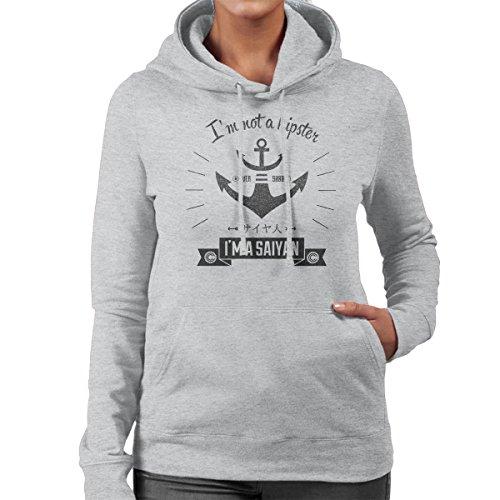 Im Not A Hipster Im A Saiyan Dragonball Z Women's Hooded Sweatshirt Heather Grey