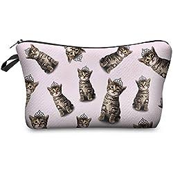 Modische Kulturtasche | Kosmetiktasche | Schminktasche (Make-Up Bag) | Kulturbeutel mit schönen Print-Motiven für Reisen, Urlaub und Alltag (Rosa (Cat Princess))