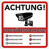 10 Stück Achtung Videoüberwachung Premium Aufkleber – Schild – Sticker |Hinweisschild – Warnschild für mit Kamera videoüberwachtes Objekt – Haus – Gelände | Kratz- wetterfest 10 x 10 cm