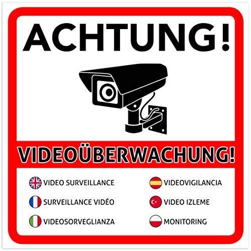 2 Stück Achtung Videoüberwachung Premium Aufkleber - Schild - Sticker |Hinweisschild - Warnschild für mit Kamera videoüberwachtes Objekt - Haus - Gelände | Kratz- wetterfest 10 x 10 cm
