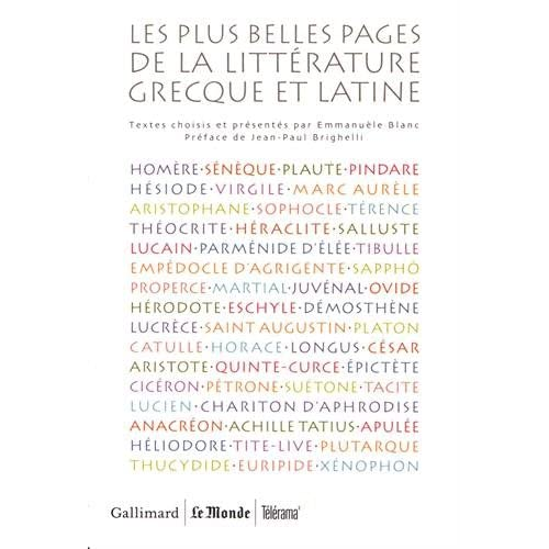 Les plus belles pages de la littérature grecque et latine : Coffret en 5 volumes : Poésie ; Théâtre ; Philosophie et éloquence ; Histoire ; Romans