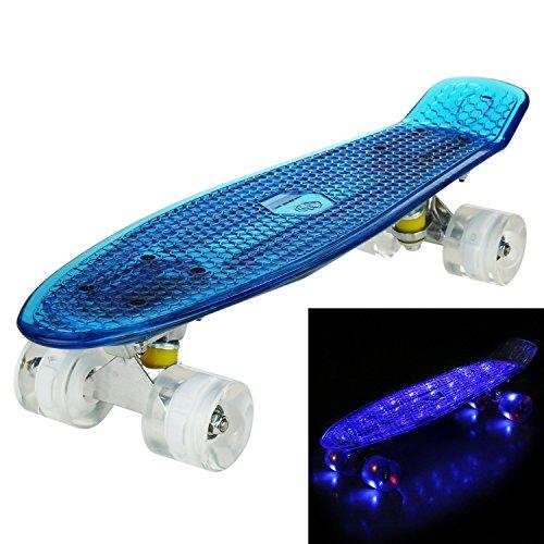 """WeSkate 55cm Skateboard Complete Crystal 22\"""" Cruiser Skate Board mit LED leuchten Räder/Deck"""
