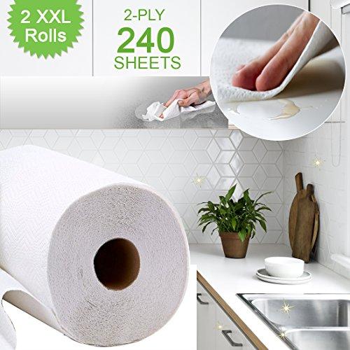 Gewebte Blätter (Küche Rolle XXL–2Pack–2XXL jeder 120individuelle 2-lagig Blatt.–Super Saugstarke & ideal für Aufwischen Verschütten & Wischen Oberflächen)