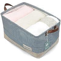Cestos para la organización de almacenamiento de ropa - cestas de almacenamiento hechas de algodón ecológico. Funciona como una tela de cajón, almacenamiento de bebé, juguetes de almacenamiento. Cestas de vivero de alta calidad compatible La mayoría de los estantes, Azul marino