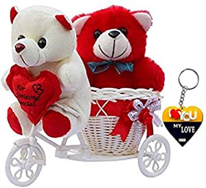 ME & YOU Romantic Cycle Teddy with Printed MDF Keychain Return Gifts for Wife Girlfriend and Sister On Birthday, Anniversary, Rakhi, Valentine's Day IZ18TCyKeyH-001