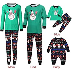 POLP Niño Navidad Ropa niñas Unisex casa Pijama Bebe Navidad Regalo Mujer Hombre Manga Larga Pantalones Padres e Hijos Niño Madre e Hijo Recién Nacido Muñeco de Nieve Camiseta Sudadera