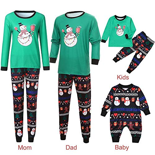 (Riou Weihnachten Set Kinder Baby Kleidung Pullover Familie Pyjamas Nachtwäsche Outfits Set Schlafanzug PJS Homewear für Eltern Jungen Mädchen Spielanzug Eltern Kindabnutzung Set (XL, Mom))