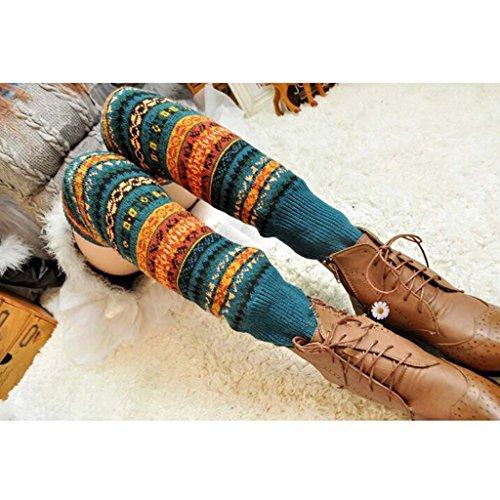 HuaYang Fashion longue chaussette des femmes collant jambière tricoté d'hiver(Bleu)