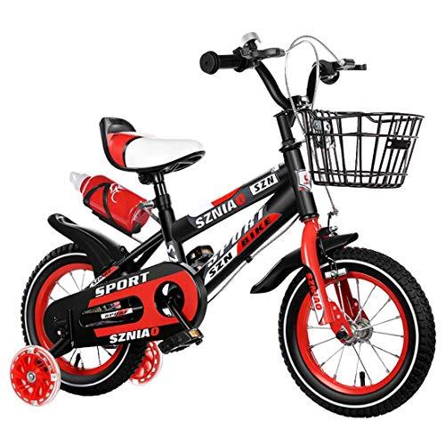 MUYU 12(14,16,18,20) Pulgadas Bicicleta Infantil Bicicleta Niños Niñas Bicicleta con Ruedines por 3-10 Años,Red,14inch