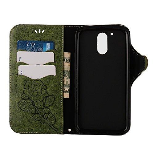 YHUISEN Moto G4 / G4 Plus case, Luxus Retro Rose Premium PU Leder Magnetverschluss Flip Wallet Schutzhülle mit Lanyard für Motorola Moto G4 / G4 Plus ( Color : Light Green ) Green