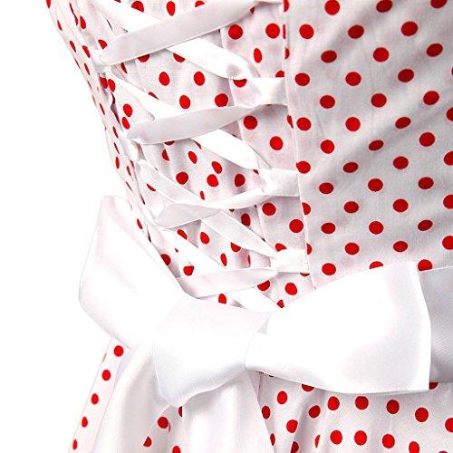 Eudolah Robe à pois Vintage Rockabilly Swing noeud de papillon col rond robe patineuse soirée cocktail Hepburn style années 50 femme Blanc Rouge L-U